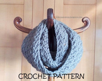 Crochet chunky infinity scarf PATTERN. Reversible crochet cowl tutorial. Circular scarf instructions step by step. Instant download.