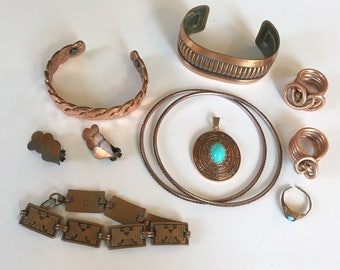 Vintage and Used Assorted Copper and Copper Color Destash Jewelry Lot for Wear Repair Resell Crafts