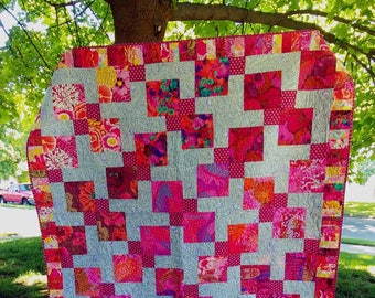 """Kaffe Quilt """"Jessie""""---large lap, couch, twin, double, queen coverlets---pinks, reds, gray, lilac"""