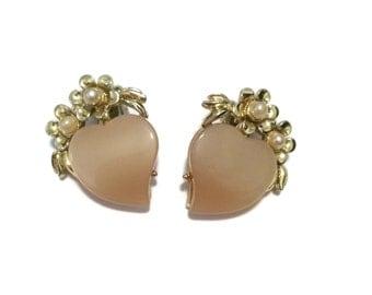 Vintage Soft Pink Clip Earrings
