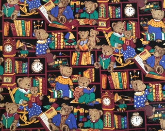 Teddy Bear Cotton Fabric Brown Multicolor Bears Reading Books 1 1/2 Yards