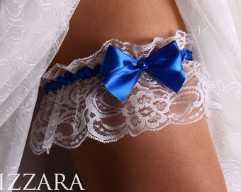 Wedding Garter Brides Blue Royal Garters Gold Toss Lace