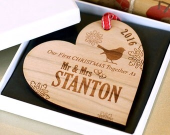 Our First 1st Christmas Ornament, Rustic Our First Christmas as Mr and Mrs, Married Christmas Bauble, Wooden First Christmas Decoration