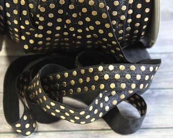 "5/8"" Black with Gold Foil Polka Dots Metallic DIY Headband Supplies Fold Over Elastic FOE per yard"