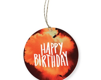 Happy Birthday Gift Tag | Round Watercolour Tag