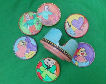 hand painted wooden drinks coaster set x 6