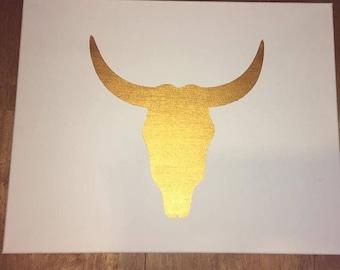 Golden cow skull
