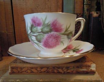 Vintage Colelough Tea Cup / Pink Thistle Teacup and Saucer /  Colelough Thistle Pattern