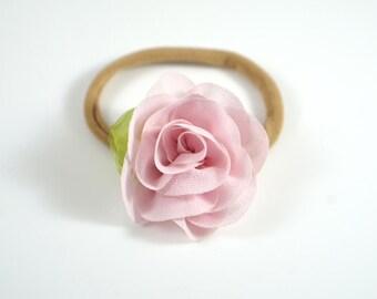 Pink Rose Headband. Flower Headband. Easter Headband. Baby Headband. Newborn Headband. Newborn Photo Prop. Toddler Headband. Spring Bow.