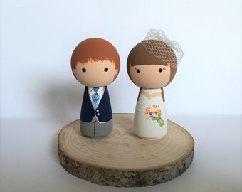 Kokeshi Cake Toppers - Bride & Groom Cake Toppers - Personalised Wedding Cake Toppers  - Peg Doll Cake Toppers