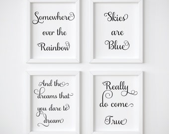 Somewhere Over The Rainbow, Skies Are Blue, Set of 3, Neutral Nursery Wall Art, Nursery Wall Art, Nursery Art, Nursery Wall Decor, Prints
