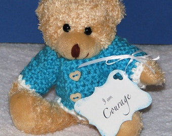 Bear, Handmade, Crochet, Christian, Prayer, Faith, Blue, Ribbon, Hearts, Encouragement, Love, Hope, Courage, Prayer Bear