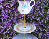 Vintage French Limoges, Tiered Tray, 3 Tier Cupcake Stand, Bone China, Pink Roses, Brunch, Cupcake Tower, Gold Gilt China, Antique Creamer