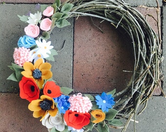 Handmade felt flower spring/summer wreath