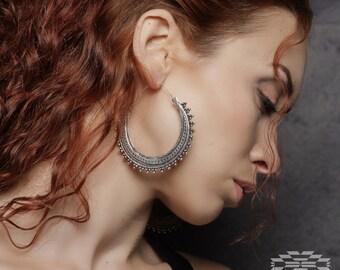 Tribal earrings, tribal jewelry, hoop earrings, ethnic earrings