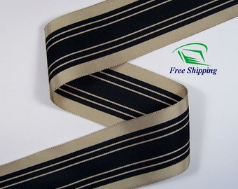"2"" (50mm) Black & Beige Stripe Grosgrain Ribbon 1001 (BTY)"