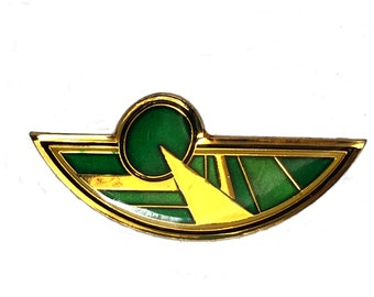 Vintage Art Deco enamel brooch, Gold and green vintage enamel art deco vintage pin