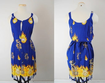 90s Japanese Print Dress, Vintage Fringed Spaghetti Strap Sundress, dragon armageddon comet dragonball z Y2K beaded fringe belted a-line