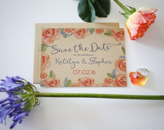 Rustic Watercolor Floral Save the Date Postcards