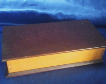 Vintage Hand-made Wooden Box 2 Partions Felt Lined