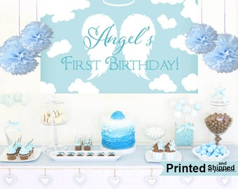 Angel Wings Cake Table Backdrop- First Birthday Photo Backdrop- Baby Shower Backdrop - Party Backdrop, Custom Backdrop