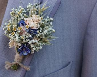 Meadow Pastels Dried Flower Buttonhole