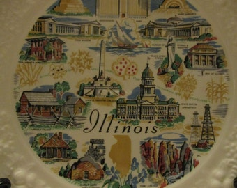 Vintage Illinois State collectors plate 8 inches