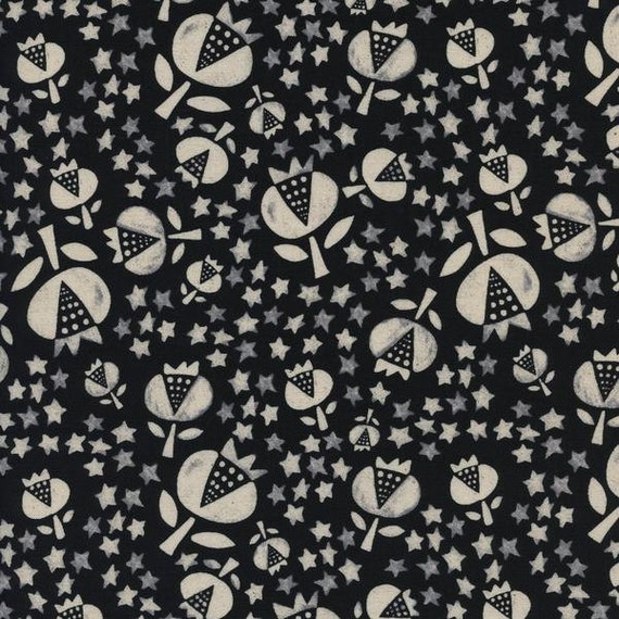 Changing Pad Cover - 'Flower Shop' Thistle in Black - MADE-to-ORDER