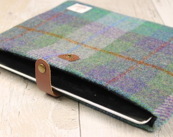 iPad Cover / Green Purple Check / Harris Tweed / Plaid Tablet Cover / Tartan Tablet Cover