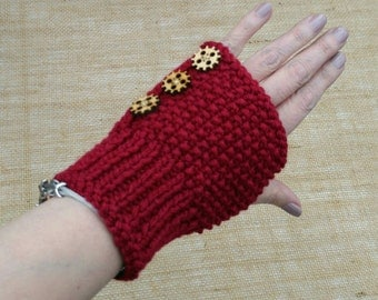 Hand Knitted Ladies Fingerless Gloves Wrist Warmers Steampunk Style with wooden cog buttons Gift Idea Ready to ship from UK