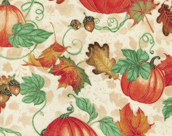 Pumpkins - Harvest Bounty Collection by Quilting Treasures- 100% Cotton High Quality Quilting Fabric