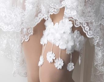 Wedding Flower garter, Wedding Lace garter, Drop Flowers lace garter, Bridal garter, Lace keepsake garter,Toss garter -WG10T14