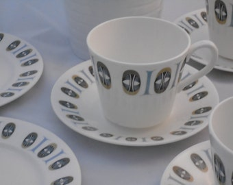 Scandi style tea set~ retro tea set~1960's 1970's tea set ~gift for home~Scandi style cups and saucers~retro cups and saucers