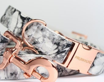 Dog collar MARBLE with rose gold colored hardware - handmade - trend