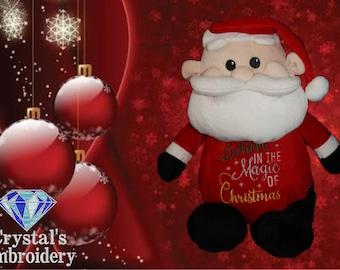 Santa Cubbie- personalised toy, plush toy, baby toy, christmas, birthday, baby shower, soft toy, wedding, kids, baby, boyfriend, mum, dad