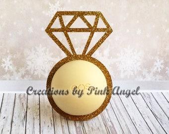 Set of 12 Bridal Shower Lip Balm Favor Holders, Diamond Ring Favor Holders, Bachelorette Lip Balm Favors, Bridal Proposal Favors