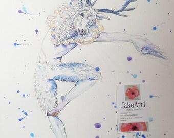 White Stag fantasy dancer original art, gift for her, fantasy ballet, original fantasy art, gothic art, fantasy stag, gothic stag, art