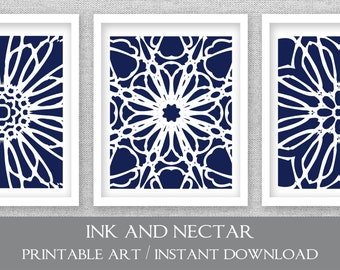 Navy Printable Art Set Of 3 Prints Wall Kitchen