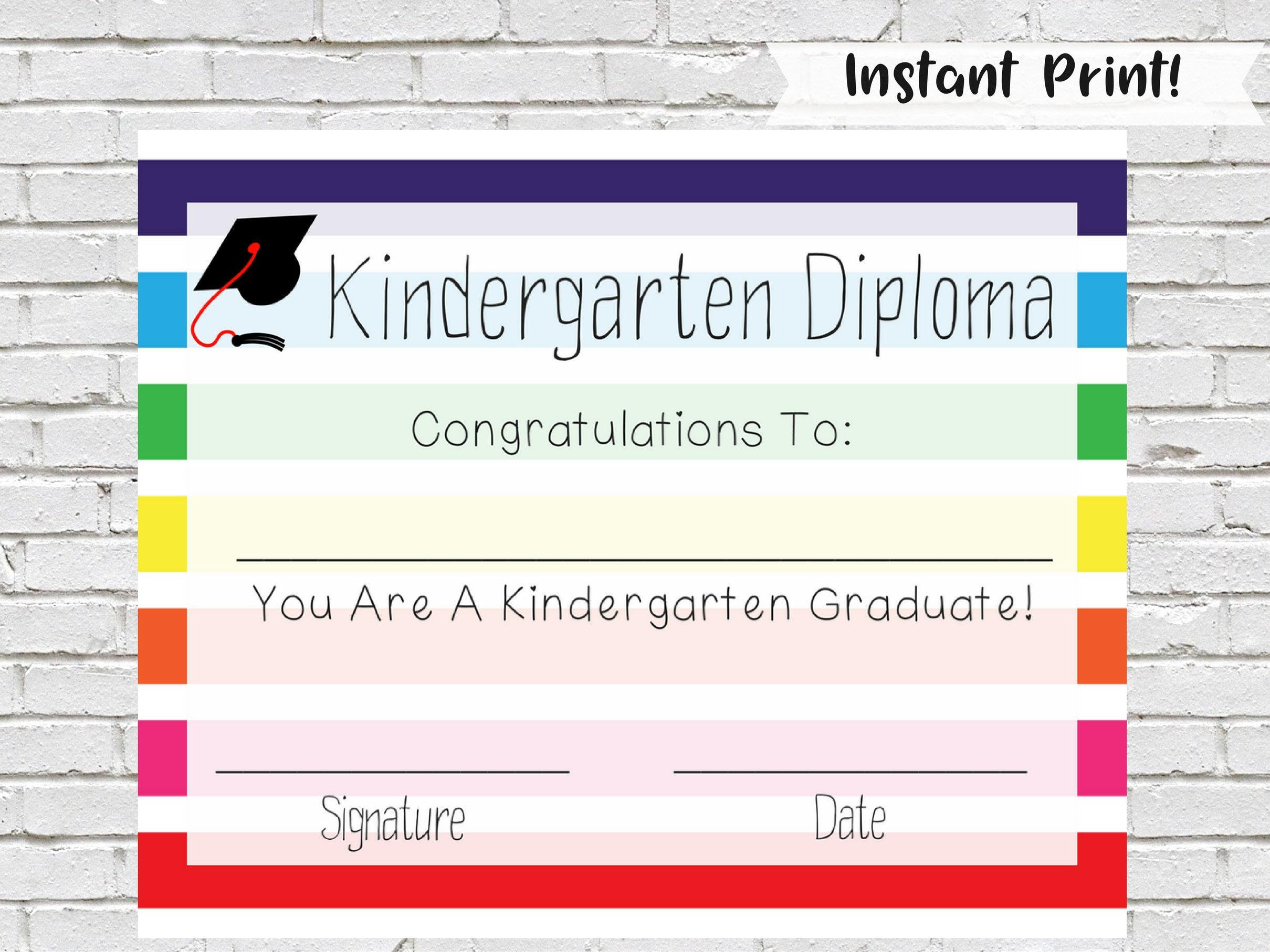 kindergarten diploma kindergarten certificate printable