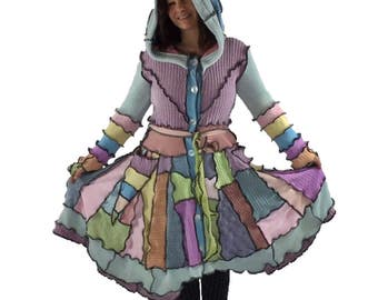 """S-M Reanimated Hooded Sweater Jacket - """"Oh, For Peeps Sake!"""" - Upcycled - Recycled -Patchwork Sweater"""