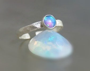 opal ear cuff, sterling silver ear cuff - clip on earring