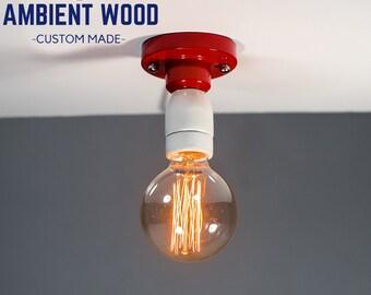 Red Ceiling light Industrial Ceramic ceiling light, Antique Edison Bulb, Lamp, Rustic Lighting