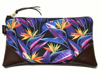 Large Bold Bird of Paradise in Black Zipper Pouch / Clutch with inside lining and Suede Zipper Pull or Leather Wristlet Strap