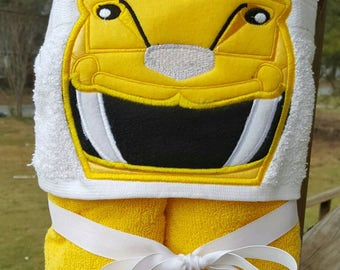Yellow Power Ranger  Inspired Hooded Towel with FREE EMBROIDERED NAME