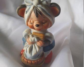 Vintage 1980s Laundry Mouse Figurine