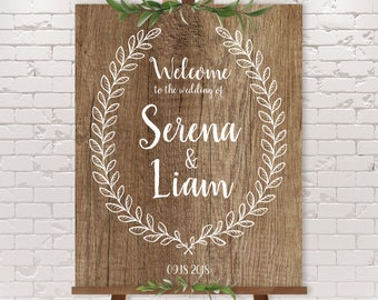 Rustic Wedding Welcome Sign / Rustic Welcome / Rustic Wood Sign, White Leaf Wreath / Custom Sign ▷ Printable File {or} Printed & Shipped