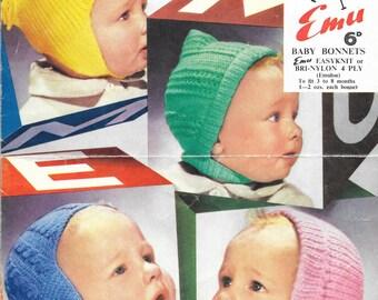 Vintage Knit Pattern, Vintage Hat Pattern, 4 ply hat pattern, Chinstrap Hat, Child Hat Pattern, PDF Knitting Pattern, Instant Download