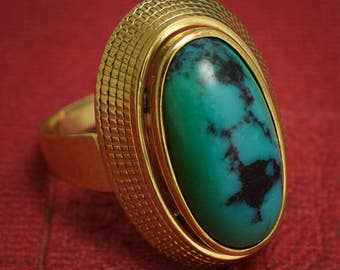 Vintage 1960s Turquoise Matrix Egyptian Revival Ring in Yellow Gold