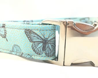 Spring Metallic Blue Butterfly Dog Collar for Easter - Blue Wedding Dog Collar - Blue Dog Collar - Girl Dog Collar - Easter Collar