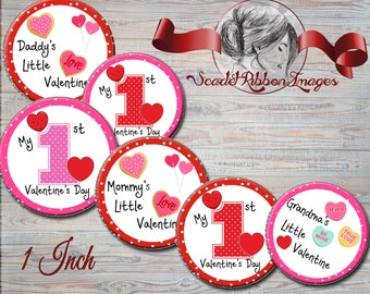 First Valentine's Day Bottle Cap images - 1st Valentine's Day  600dpi  digital collage, sheet, cupcake toppers, stickers, charms,  magnets